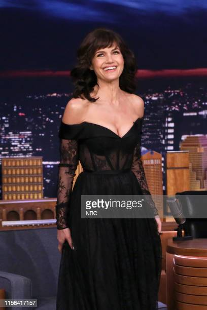 Episode 1098 -- Pictured: Actress Carla Gugino arrives to the show on July 29, 2019 --