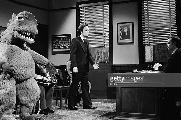 LIVE Episode 11 Air Date Pictured Godzilla Harry Shearer as Mr Kramer Bill Murray as the judge during 'Kramer vs Godzilla' skit on February 16 1980