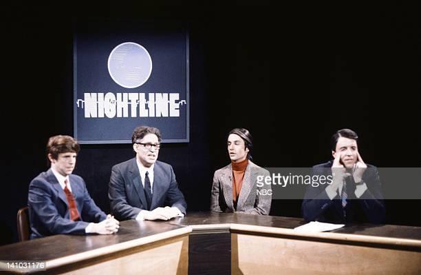 Episode 11 -- Pictured: Dana Carvey as Ted Koppel, Al Franken as Henry Kissinger, Bronson Pinchot as Carl Sagan, Kevin Nealon as Brent Musbruger...