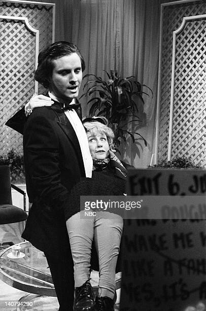 Gary Kroeger as Julio Iglesias and Mary Gross as Simone de Beauvoir during the 'In Praise of Women' skit on January 19 1985