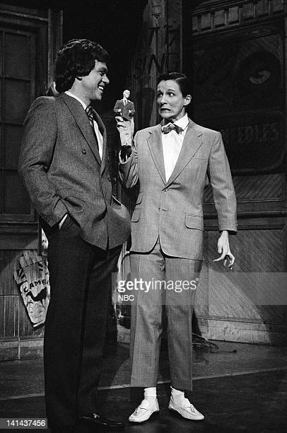 Joe Piscopo as David Letterman Mary Gross as PeeWee Herman during the 'Anniversary Special' skit on January 28 1984 Photo by Reggie Lewis/NBC/NBCU...