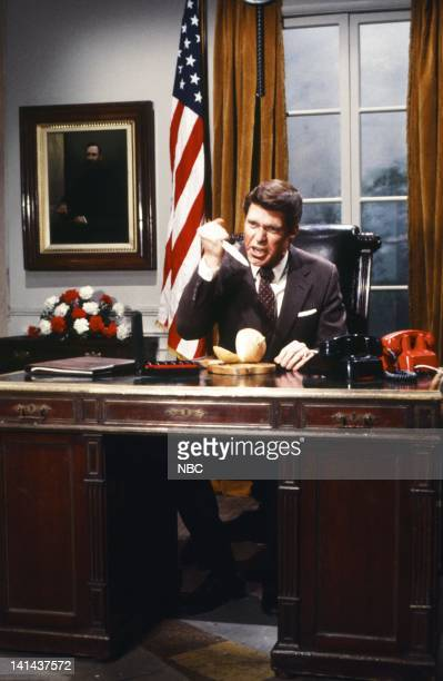 Joe Piscopo as President Ronald Reagan during the 'TV President' skit on January 28 1984 Photo by Reggie Lewis/NBC/NBCU Photo Bank