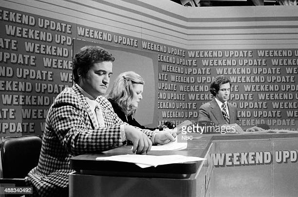 John Belushi Jane Curtin Chevy Chase during 'Weekend Update' on February 18 1978