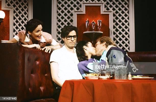Mary Gross as waitress Gary Kroeger as Rory Julia LouisDreyfus as Becky Brad Hall as Mike Phillips during the 'El Dorko' skit on January 28 1984...