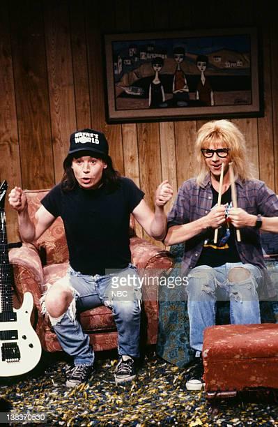 Mike Myers as Wayne Campbell Dana Carvey as Garth Algar during the 'Wayne's World' skit on January 19 1991