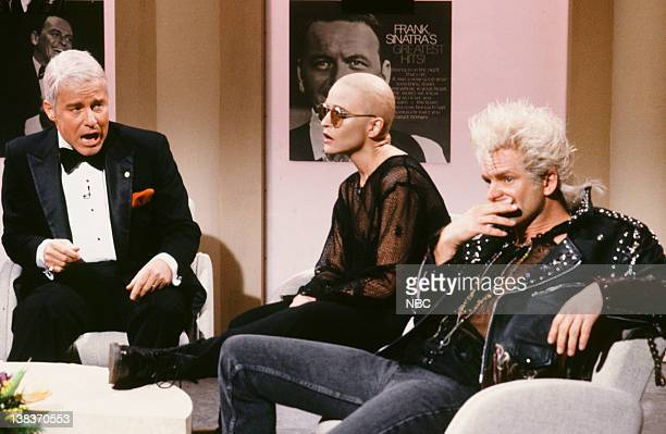 Phil Hartman as Frank Sinatra Jan Hooks as Sinead O'Connor Sting as Billy Idol during the 'The Sinatra Group' skit on January 19 1991