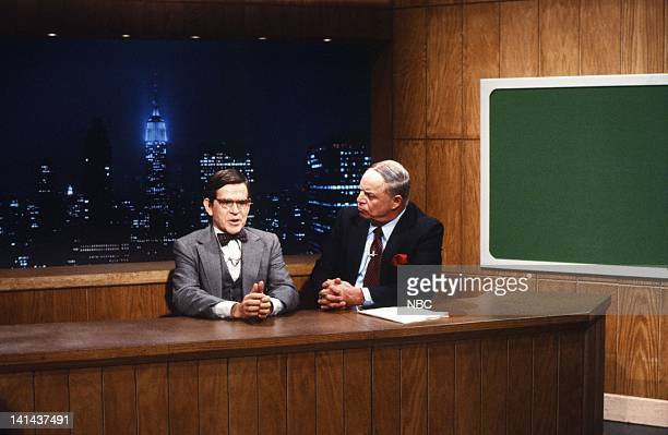 Episode 11 -- Pictured: Tim Kazurinsky as Worthington Clotman, Don Rickles during the 'Weekend Update' skit on January 28, 1984 -- Photo by: Reggie...