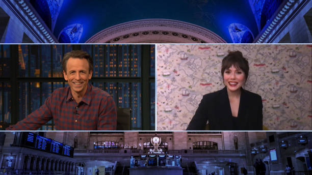 "NY: NBC'S ""Late Night With Seth Meyers"" With Guests David Duchovny, Elizabeth Olsen, Wright Thompson (Band Sit-In: Matt Cameron)"