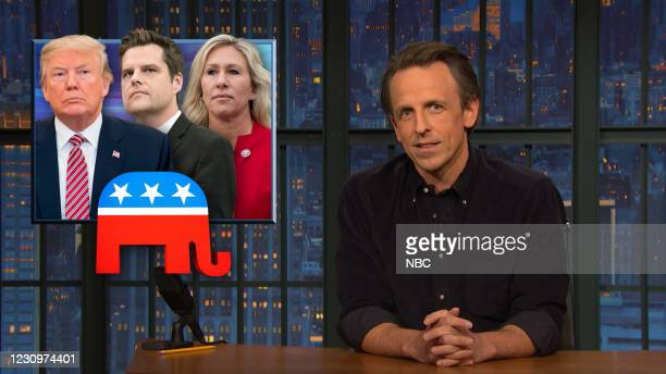 "Episode 1102A -- Pictured in this screen grab: Host Seth Meyers during ""A Closer Look"" on February 4, 2021 --"