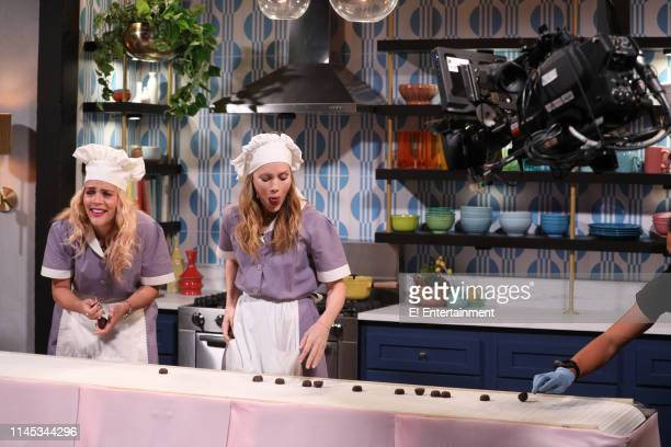 Host Busy Philipps and guest Leslie Mann on the set of Busy Tonight