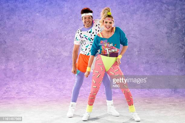 "Episode 1106 -- Pictured: Host Jimmy Fallon and model Kate Upton during ""80's Aerobics Dance Challenge"" on August 12, 2019 --"