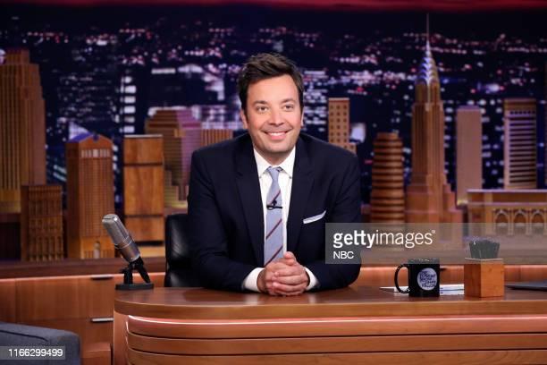 Host Jimmy Fallon arrives to his desk on September 6 2019