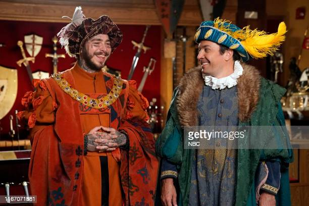 """Episode 1114 -- Pictured: Rapper Post Malone and host Jimmy Fallon during """"Jimmy & Post go to Medieval Times"""" on September 8, 2019 --"""