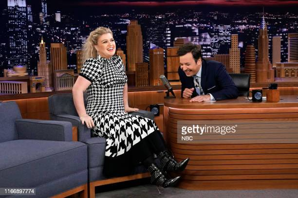 Episode 1114 -- Pictured: Singer Kelly Clarkson during an interview with host Jimmy Fallon on September 8, 2019 --