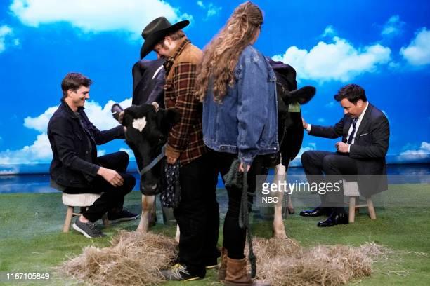 "Episode 1115 -- Pictured: Actor Ashton Kutcher and Host Jimmy Fallon during ""Ashton & Jimmy Milk Cows"" on September 9, 2019 --"