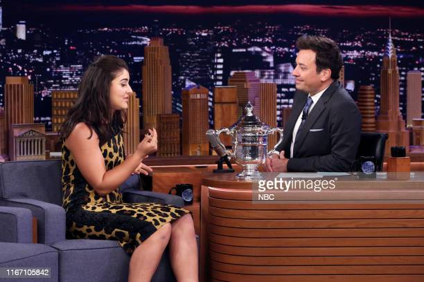 Episode 1115 -- Pictured: US Open Women's Singles champion Bianca Andreescu during an interview with host Jimmy Fallon on September 9, 2019 --