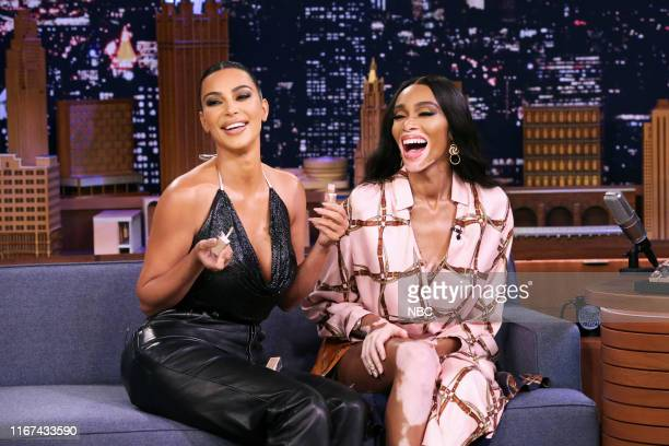 Episode 1117 -- Pictured: Media personality Kim Kardashian West and model Winnie Harlow during an interview on September 11, 2019 --