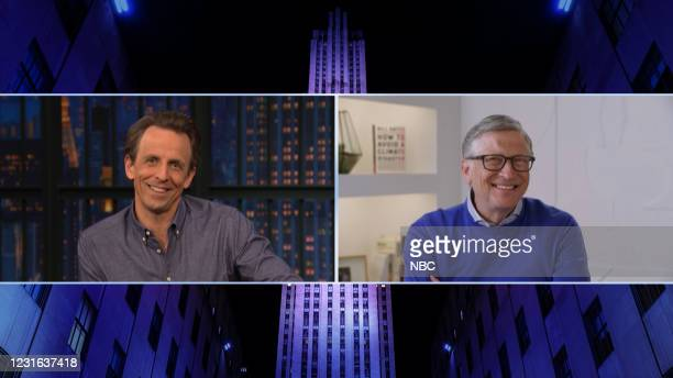 Episode 1117A -- Pictured in this screen grab: Host Seth Meyers talks with Bill Gates on March 10, 2021 --