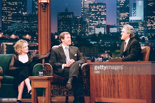 Actress Ellizabeth Shue NBC Nightly News anchor Brian Williams during an interview with host Jay Leno on April 3 1997
