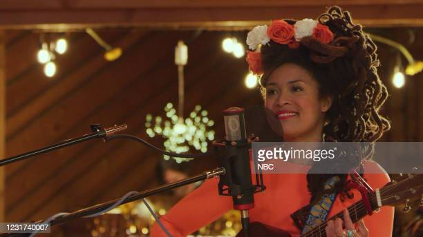 Episode 1119A -- Pictured in this screen grab: Musical guest Valerie June performs on March 15, 2021 --