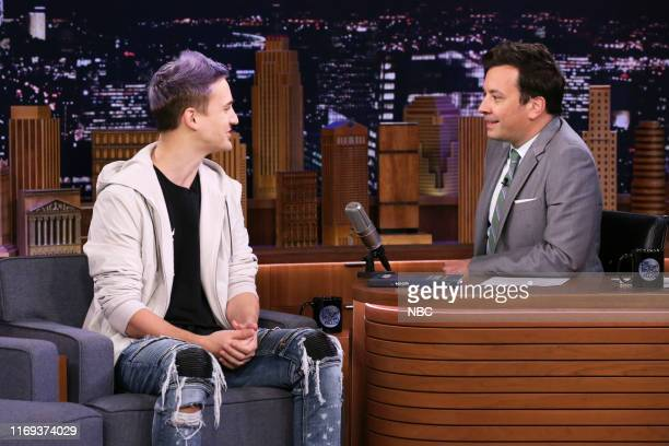 """Episode 1121 -- Pictured: Video game streamer Tyler """"Ninja"""" Blevins during an interview with host Jimmy Fallon on September 18, 2019 --"""