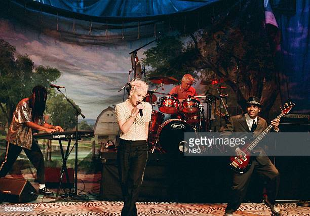 Episode 1124 -- Pictured: Stephen Bradley, Gwen Stefani, Adrian Young, and Tony Kanal of No Doubt perform on April 11, 1997 --