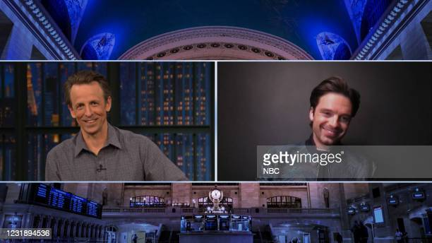 Episode 1124A -- Pictured in this screen grab: Host Seth Meyers talks with actor Sebastian Stan on March 23, 2021 --