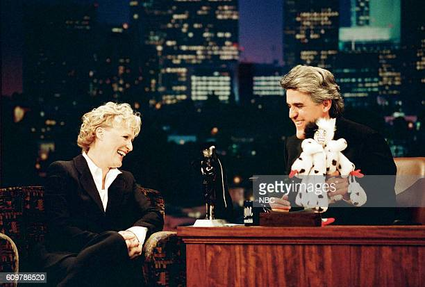 Actress Glen Close during an interview with host Jay Leno on April 14 1997