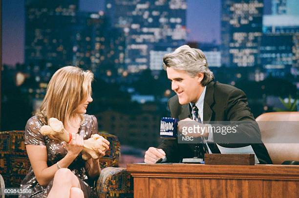 Episode 1135 -- Pictured: Actress Mira Sorvino during an interview with host Jay Leno on April 25, 1997 --
