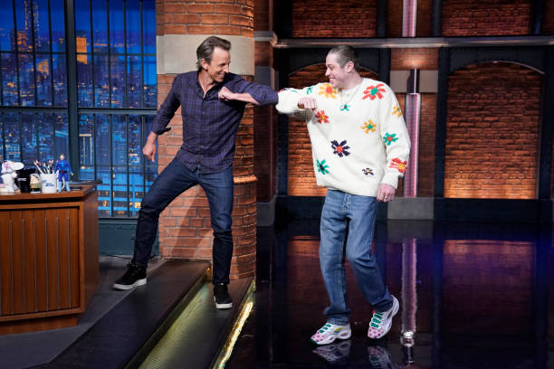 """NY: NBC'S """"Late Night With Seth Meyers"""" With Guests Pete Davidson, Jodie Turner-Smith, George Saunders (Band Sit-In: Mario Duplantier)"""