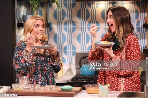 Busy Phillips and D'Arcy Carden on the set of Busy Tonight