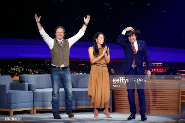 Television personalities Chip Gaines and Joanna Gaines during an interview with host Jimmy Fallon on November 7 2019