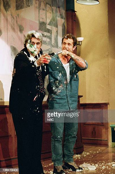 LENO Episode 1154 Air Date Pictured Host Jay Leno on gets into a food fight with actor Mel Gibson on May 22 1997