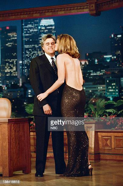 LENO Episode 1154 Air Date Pictured Host Jay Leno onstage with model Cindy Crawford on May 22 1997