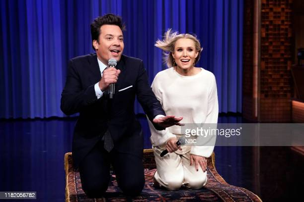Host Jimmy Fallon and actress Kristen Bell during The History of Disney Songs on November 12 2019