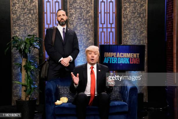 """Episode 1155 -- Pictured: Actor Tony Hale and host Jimmy Fallon as Donald Trump during the """"Impeachment After Dark"""" Cold Open on November 13, 2019 --"""