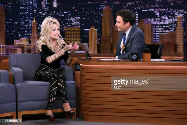 Singer Dolly Parton during an interview with host Jimmy Fallon on November 20 2019