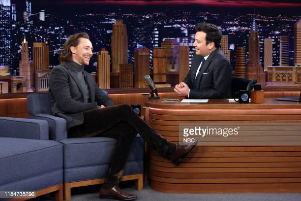 Actor Tom Hiddleston during an interview with host Jimmy Fallon on November 25 2019