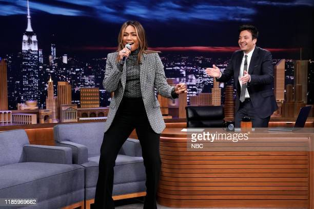 Episode 1167 -- Pictured: Actress Tiffany Haddish during an interview with host Jimmy Fallon on December 1, 2019 --