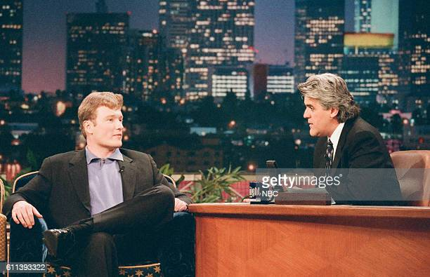 Episode 1170 -- Pictured: Comedian Conan O'Brien during an interview with host Jay Leno on June 16, 1997 --