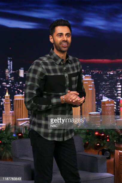 Episode 1173 -- Pictured: Comedian Hasan Minhaj arrives to the show on December 10, 2019 --