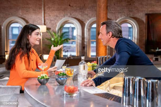 """Episode 1173A -- Pictured: Singer Lorde and host Seth Meyers during """"Seth and Lorde go Day Drinking"""" --"""