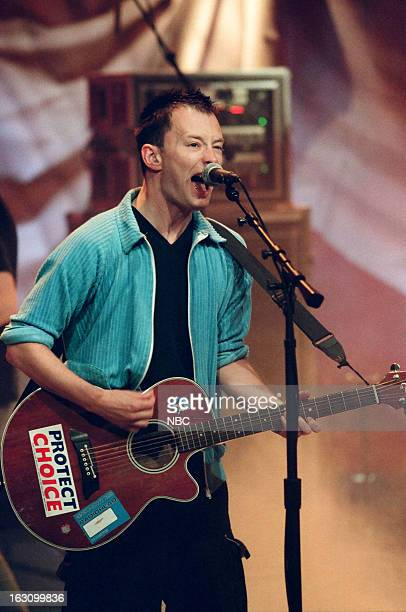 Thom Yorke of musical guest Radiohead performs on July 25 1997