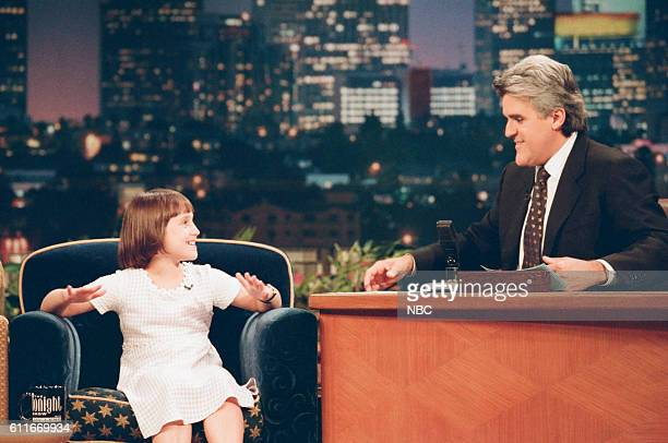 Episode 1181 -- Pictured: Actress Mara Wilson during an interview with host Jay Leno on July 8, 1997 --