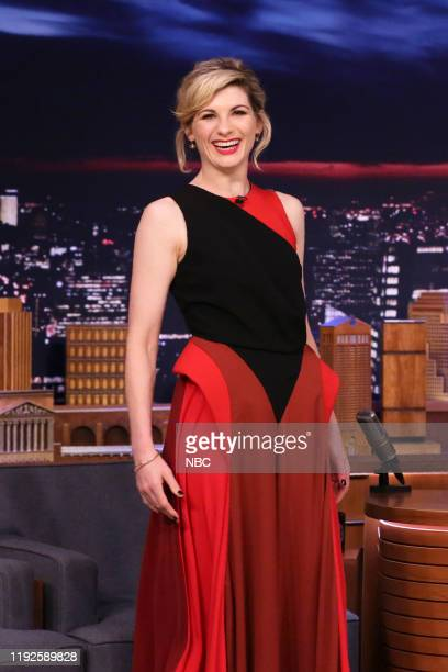 Episode 1183 -- Pictured: Actress Jodie Whittaker arrives to the show on January 8, 2020 --