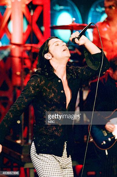 Episode 1183 -- Pictured: Michael Hutchence of musical guest INXS performs on July 10, 1997 --