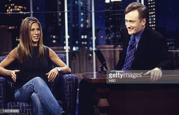 BRIEN Episode 1184 Air Date Pictured Actress Jennifer Aniston during an interview with host Conan O'Brien on November 18 1999 Photo by NBCU Photo Bank