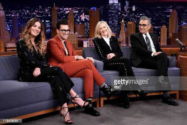 """Episode 1189 -- Pictured: Actors Annie Murphy, Dan Levy, Catherine O'Hara, and Eugene Levy of """"Schitt's Creek"""" during an interview on January 16,..."""