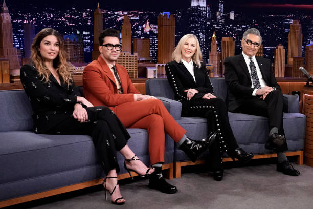 """NY: NBC's """"Tonight Show Starring Jimmy Fallon"""" With Guests The Cast of Schitt's Creek, Finn Wolfhard, Justin Willman"""