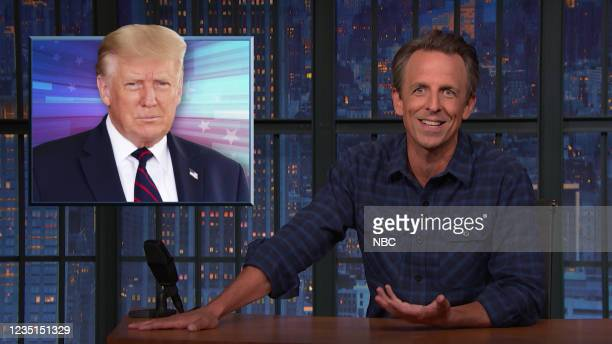 Episode 1189A -- Pictured: Host Seth Meyers during the monologue on September 09, 2021 --